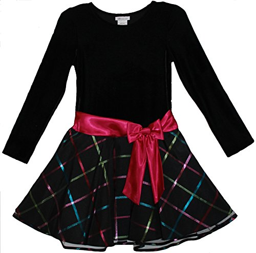 Bonnie Jean Girls Black Velvet Fuchsia Sash Plaid Skirt Dress, 5