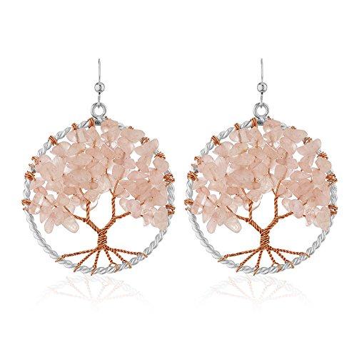 Bead Earrings Quartz Rose (Silver-Plated Handmade Copper Trunk Tree of Life Synthetic Pink Rose Quartz Gemstone Bead Dangle Earrings)