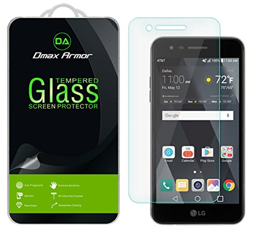 [2-Pack] Dmax Armor for LG Phoenix 3 Screen Protector, [Tempered Glass] 0.3mm 9H Hardness, Anti-Scratch, Anti-Fingerprint, Bubble Free, Ultra-Clear