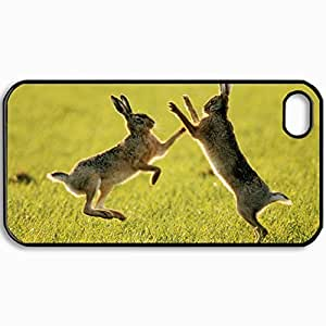 Personalized Protective Hardshell Back Hardcover For iPhone 4/4S, Hares Fighting Design In Black Case Color