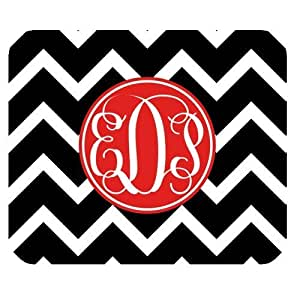 Red Circle Monogrammed with White Pink Chevron Classic Design Custom Luxury Computer Pads 3mm By @ALL