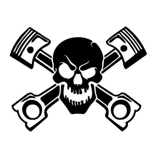 Piston Skull Vinyl Decal Sticker | Cars Trucks Vans Walls Laptops Cups | Black | 5.5 inches | KCD1034 ()