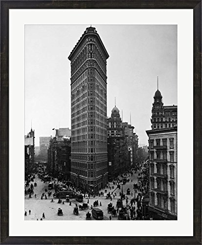 Great Art Now Flatiron Building by H. A. Dunne Framed Art Print Wall Picture, Espresso Brown Frame, 29 x 35 inches ()