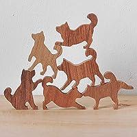 Wooden Shiba Dog Stack Set #2 (Blue Label, 6 Kittens)