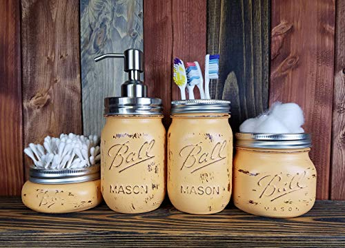 - Custom 4, 5 or 6 Piece Painted Mason Jar Bathroom Set with Soap Dispenser Lid - Bathroom Accessories - Rustic Farmhouse Decor - Country Chic Decor - Available in 20 Colors - Bisque Orange
