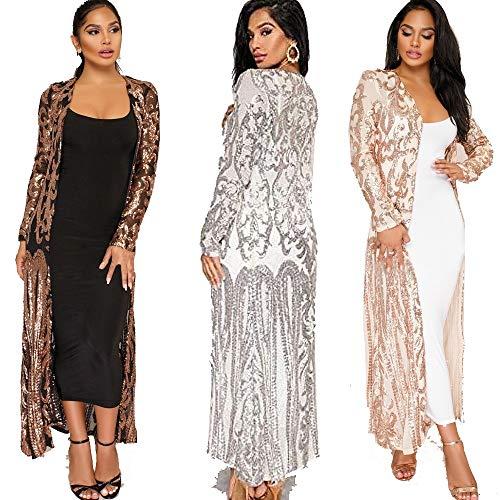 Women's Sequin Ankle Length Sparkle Cardigan Open Front Coat Dresses Silver