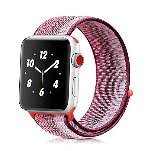 Winmy Sport Band Compatible with Apple Watch Bands 40mm 38mm, Woven Nylon Sport Loop Wristband Adjustable Closure Strap Replacement Strap for iWatch Series 4 3 2 1 - Berry Stripe