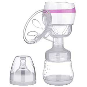 Electric Breast Pump Portable Battery Baby Milk Extractor Rechargeable Single Breastfeeding Pump with 3 Modes Massage & Suction Level and Backflow Protector for Travel (Pink)