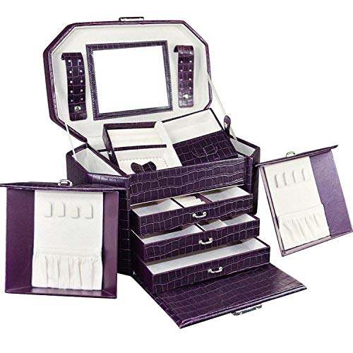Ikee Design Travel Jewelry Organizer, Portable Travel Jewelry Box PU Leather Ring Necklace Bracelet Earring Holder Travel Jewelry Box - Purple