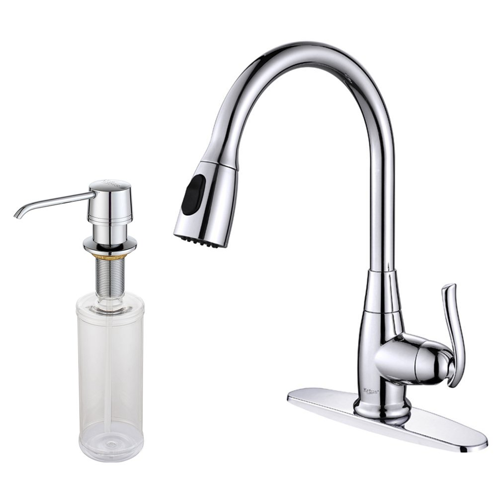 kraus kpf 2230 ksd 30sn single lever pull out kitchen faucet and kraus kpf 2230 ksd 30sn single lever pull out kitchen faucet and soap dispenser satin nickel touch on kitchen sink faucets amazon com