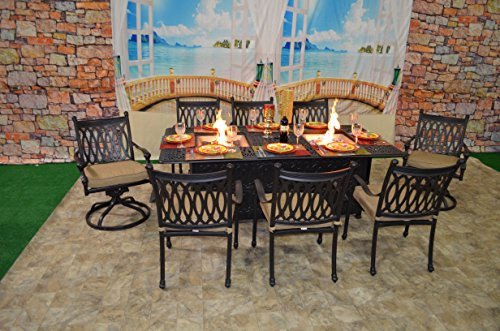 K&B PATIO LD9218-4484P Grand Tuscany Patio Dining Firepit Set, Antique Bronze ()