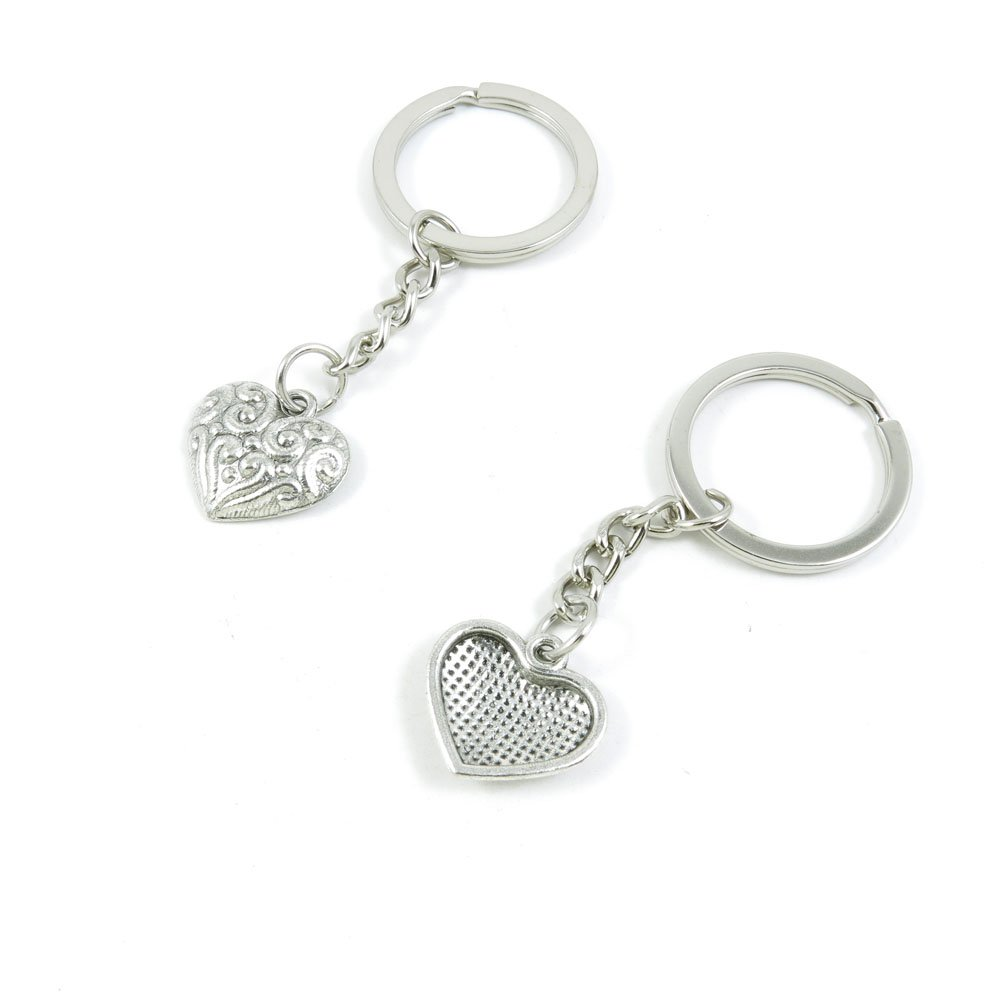 100 Pieces Keychain Door Car Key Chain Tags Keyring Ring Chain Keychain Supplies Antique Silver Tone Wholesale Bulk Lots A8UJ2 Heart Drop