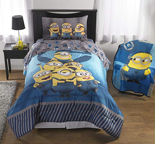 (Franco Manufacturing Despicable Me Minions 'Follow Mel' 3 Piece Twin sheet set with reversible pillowcase)