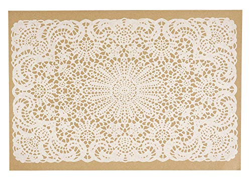 Paper Placemats Table Mats Table Decor Gifts for Her Disposable White Lace Design Pk 25 ()