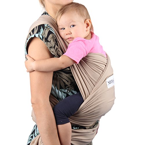 Neotech Care Baby Wrap Carrier - Cotton - Breathable & Adjustable - for Infant, Newborn, Child, Toddler (Light Brown)