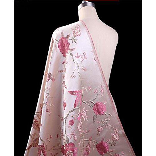 1 Pc Good Brocade Fabric French Design Pink Embroidery Silk Jacquard Brocade Fabric DIY Sewing Wedding Cheongsam Dress