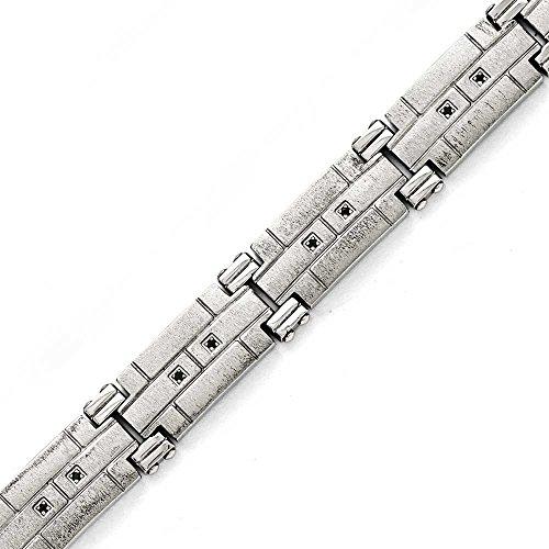 """En acier inoxydable poli et satiné avec CZ Bracelet noir - 8 """"- JewelryWeb"""
