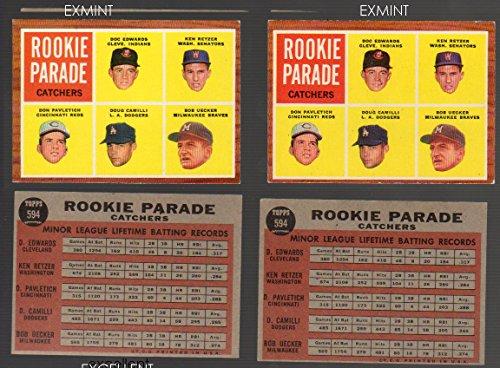 1962 Topps Regular (Baseball) Card# 594 Bob Uecker Edwards Retzer Pavletich Camilli of the Milwaukee Braves ExMt Condition Bob Uecker Baseball