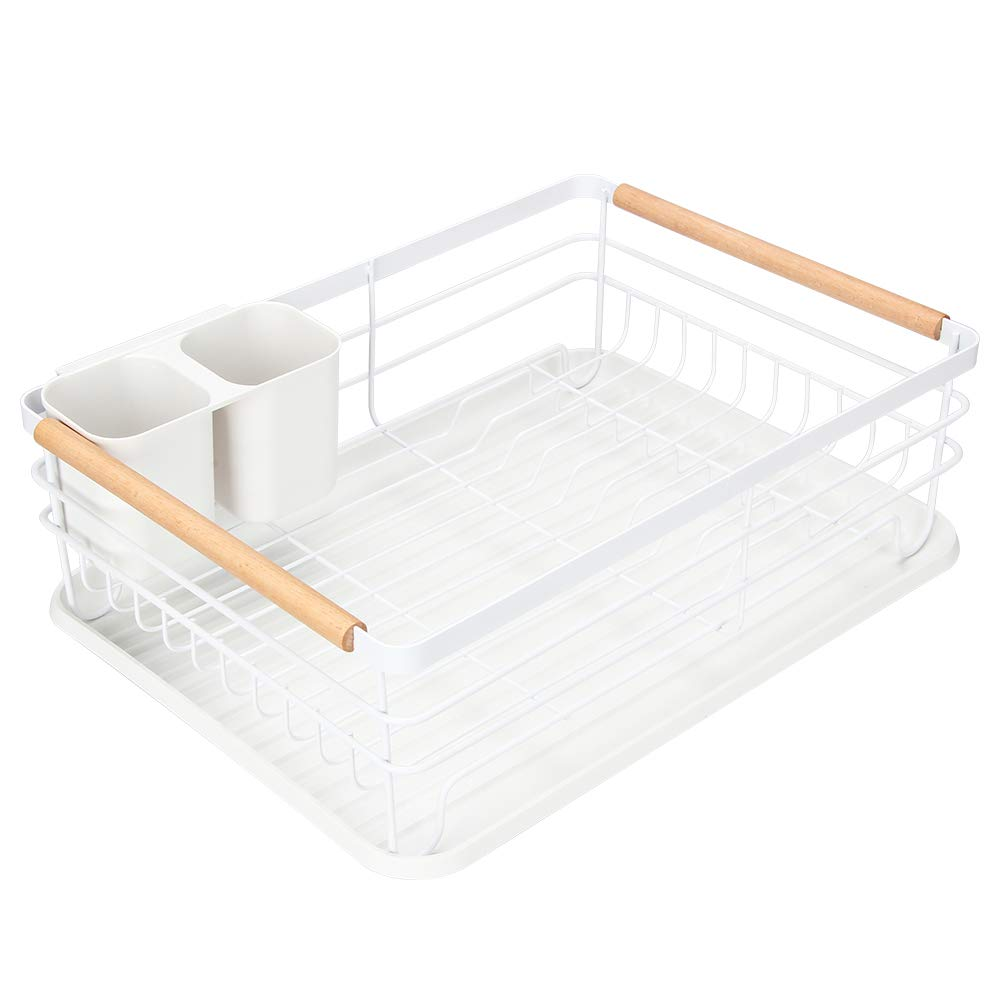 "Modern Wood Handle Dish Rack and Drain Board, Attom Tech Home 16.5"" x 12"" x 5.5"" Kitchen Plate Cup Dish Drying Rack Tray Cutlery Dish Drainer"
