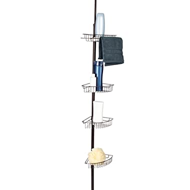 Corner Tension Pole Shower Caddy by LDR | 4 Large Baskets, Open Wire Design For Easy Draining, Fits All Baths And Shower Stalls- No Need To Cut, Rust Resistant, Bronze Finish