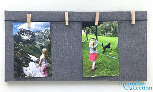 "Blue Fabric Photo Board with Wood Clothes Pin Hangers - 8"" inch x 15.5"" inch - - Message Board Picture Frame - Spinnaker Collection - Display your photography ideas, art and messages."