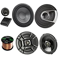 2x Polk Audio 6.5 DB652 300W 2 Way Car/Marine ATV Stereo Coaxial Speakers,2x MM6502 375W Marine 6.5 Component Speaker System, Enrock Audio 16-Gauge 50 Foot Speaker Wire