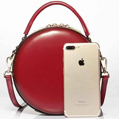 Red Shoulder Fashion Women Handbag Round Package Minimalist Messenger Purse Handbag For Bag Bag Leather Retro 4IqwY66A