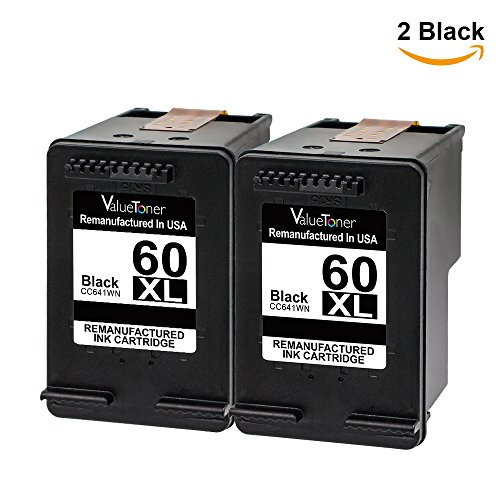 Valuetoner Remanufactured Ink Cartridge Replacement for HP 60XL High Yield CC641WN (2 Black) 2 Pack (Hp 60)
