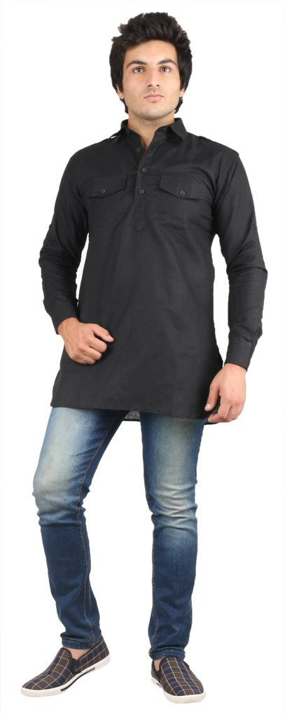 Royal Kurta Men's Fine Cotton Short Pathani Kurta For Denim's 46 Black
