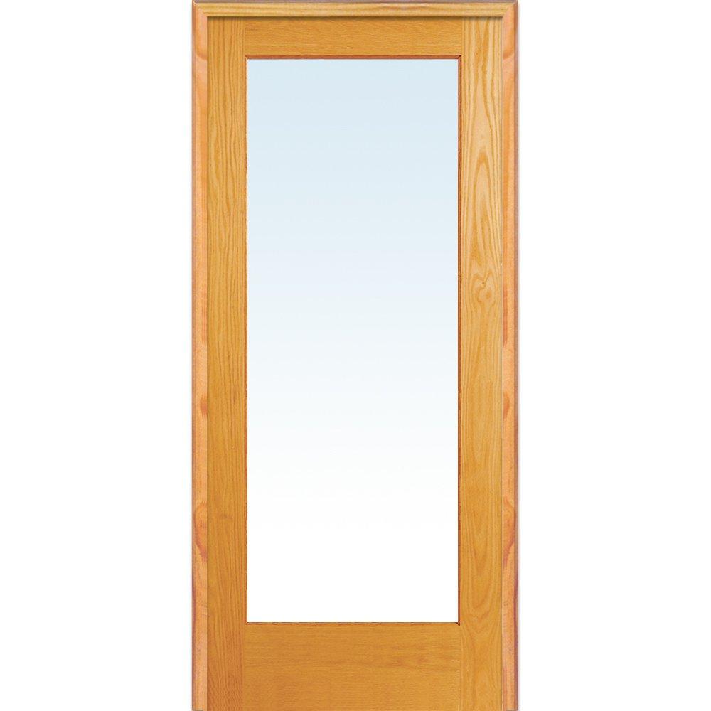 36 x 80 Left Hand Prehung Interior Door National Door Company Z019986L Unfinished Red Oak Wood 1 Lite Clear Glass