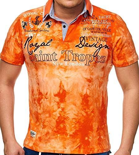 Kurzarm T-Shirt f/ür M/änner bis 5XL Baumwollhemd im Camp Vlnt Design /Shirt mit Kragen und bestickter Schrift Logos und Patches Herren Polo-Shirt mit V-Ausschnitt und Knopfleiste