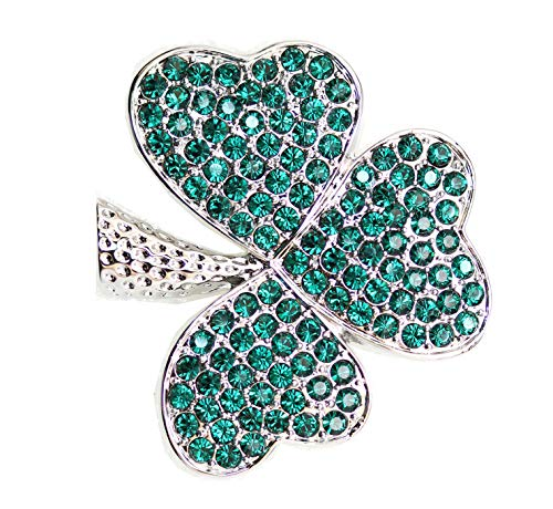 Faship Gorgeous Green Shamrock Clover Leaf Pin Brooch - Emerald-3 Leaf/Silver-Tone