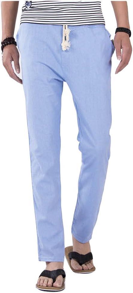 Pantalones para Hombres Cintura Elástica Algodón Ancho Pantalones Rectos Jogging Cómodo Chino Pantalón Celeste L: Amazon.es: Deportes y aire libre