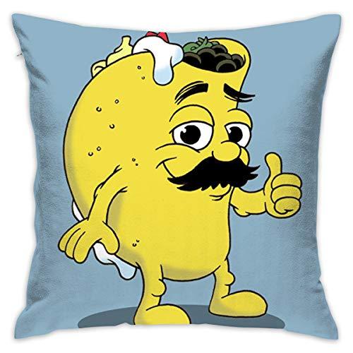Karen Felix Throw Pillow Covers Taco Dude Cartoon Decorative Cushion Case for Sofa Bedroom Car 18 X 18 Inch 45 X 45 -
