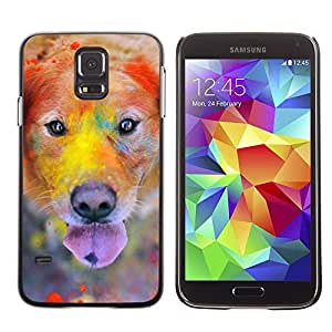 TopCaseStore / la caja del caucho duro de la cubierta de protección de la piel - Labrador Retriever Golden Dog Colorful - Samsung Galaxy S5 SM-G900