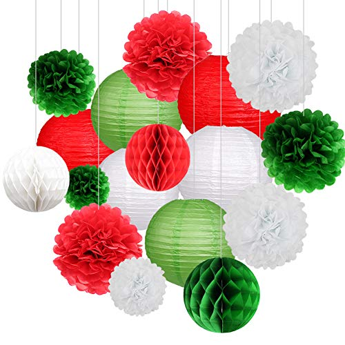 18Pcs Party Pack Paper Lanterns and Pom Pom Balls Hanging Decoration for Christmas Wedding Birthday Baby Shower-Green/Red/White