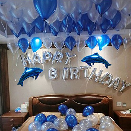Happy Birthday Balloons, iPartyClub Aluminum Foil Birthday Balloon with Dolphin balloon for Birthday Party Decorations -Silver]()