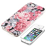 iphone 5 case vintage floral - Vintage Floral iPhone SE 5S 5 Protective case uCOLOR Hard PC + Soft TPU Tough Case for iPhone SE 5S 5 with Slim Tempered Glass Screen Protector
