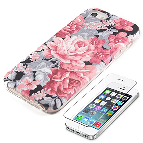Vintage Floral iPhone SE 5S 5 Protective case Ucolor Hard PC + Soft TPU Tough Case for iPhone SE 5S 5 with Slim Tempered Glass Screen Protector