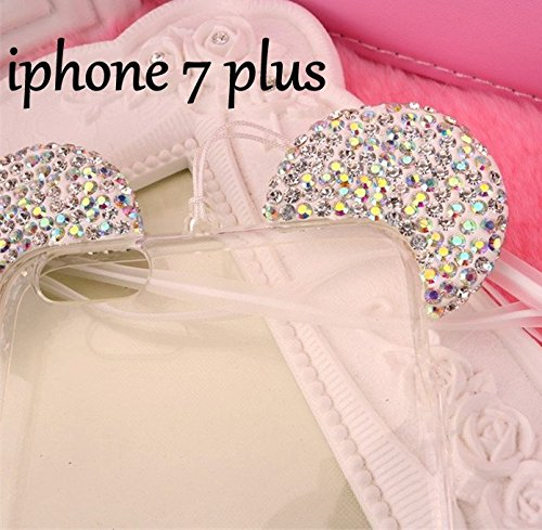 iPhone 5/5S/SE/6/6S/6S+PLUS/7/7 PLUS Case, 3D Silver/Clear Mickey Mouse Crystal Diamond Bling Rhinestone Ears TPU Rubber Silicone Gummy Skin Cover with Lanyard (iPhone 7 Plus) (Iphone 4s Mickey Mouse Case)