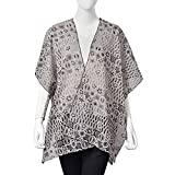 Coffee, White, and Black 100% Polyester Floral Lace Pattern Swimsuit Cover-ups Kimono One Size