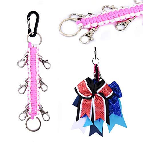 DEEKA Paracord Handmade Cheer Bows Holder for Cheerleading Teen Girls High School College Sports - Light Pink/White