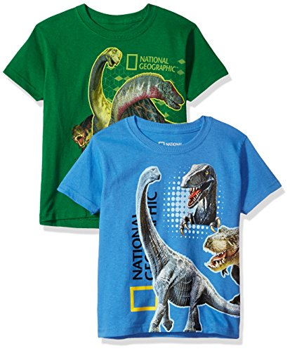 National Geographics Little Boys' Dinosaur Wrap 2-Pack Short Sleeve T-Shirt, Kelly/Light Blue, 6/7