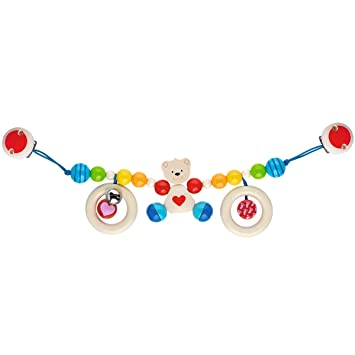 solini Kinderwagenkette Teddyb/är Babyspielzeug mit kleiner Glocke ab Geburt geeignet farbenfrohes Spielzeug f/ür Spazierfahrten