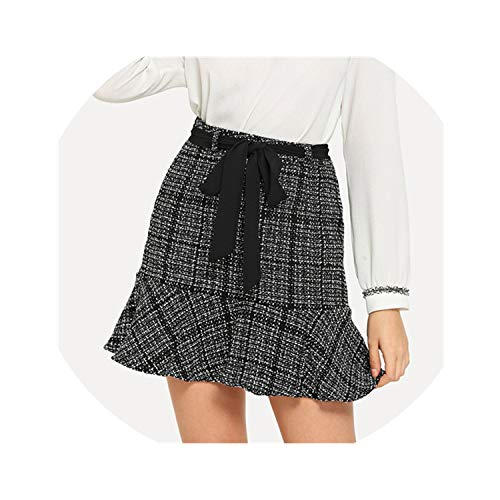(Brittany-Breanna Belted Flounce Tweed Skirt Women High Waist Going Out Short Skirt,Black and White,M)