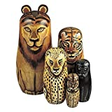 "Bits and Pieces - ""Wild Cats"" - Matryoshka Dolls - Wooden Russian Nesting Dolls -- Jungle Cat Figurines - Stacking Doll Set of 5"