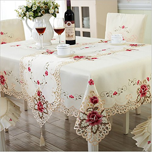 Overlay White Clear (LPPYrrydk Europe Style Wedding Embroidered Floral Lace Edge Dustproof Covers For Table Home Party Table Cloths)