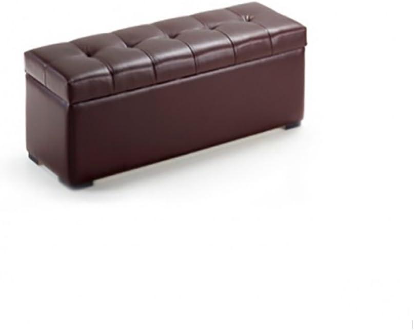 duehome Baúl arcón elevable tapizado en símil Piel, Puff Taburete (80 cm, Chocolate)