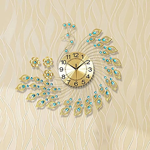 The Peacock Clock Clock Clock European Modern Minimalist Living Room Decoration Personality Ultra Quiet Luminous Quartz Clock by BJXM