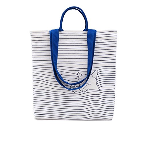 Shoulder Canvas Cat Blue amp; stripe Shopping White Bag Summer T For Canvas Tote Beach Peony Bag 05fvwCcq